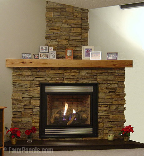 Category faux stone fireplace north star stone for Fireplace half stone